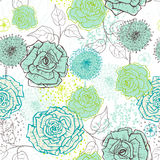 Hand drawn vintage floral seamless pattern in fresh tones Stock Photo