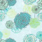 Hand drawn vintage floral seamless pattern in turquoise Royalty Free Stock Image
