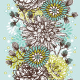 Hand drawn vintage floral vertical  seamless border Stock Image