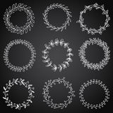 Hand-drawn  vintage floral wreath set and design element. Royalty Free Stock Photography