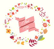 Hand drawn vintage flowers and floral elements for holidays Stock Photography