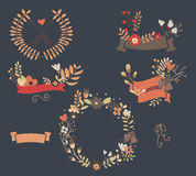 Hand drawn vintage flowers and floral elements for holidays Royalty Free Stock Photo