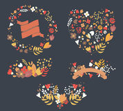 Hand drawn vintage flowers and floral elements for holidays Stock Photo