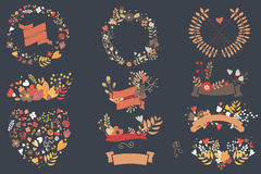 Hand drawn vintage flowers and floral elements for weddings, Val stock illustration