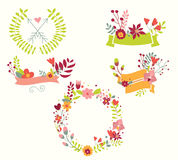 Hand drawn vintage flowers and floral elements for weddings Stock Photography