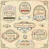 Hand drawn vintage framed label templates Stock Photos