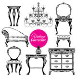 Hand Drawn Vintage Furniture Style Set Royalty Free Stock Photos