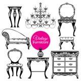 Hand Drawn Vintage Furniture Style Set Royalty Free Stock Photos