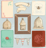 Hand Drawn Vintage Garden Elements Vector Set Stock Photography