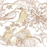 Hand drawn vintage garden seamless pattern Royalty Free Stock Photos