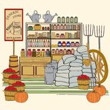 Hand Drawn Vintage General Store Royalty Free Stock Images