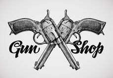 Hand drawn vintage guns. Crossed pistols. Vector illustration Stock Photos