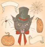 Hand Drawn Vintage Halloween Creepy Cat Vector Set. Spooky vintage inspired elements to embellish your layout. No transparency used. All colour fills are Stock Image