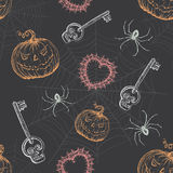Hand Drawn Vintage Halloween Seamless Pattern Royalty Free Stock Photos