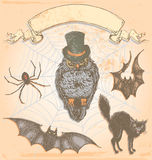 Hand Drawn Vintage Halloween Spooky Owl Vector Set Stock Photo