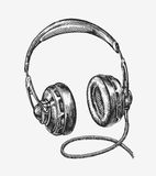 Hand-drawn vintage headphones. Sketch music. Vector illustration Royalty Free Stock Photos