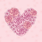 Hand Drawn vintage heart of flowers. Royalty Free Stock Photography