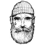 Hand Drawn vintage hipster sailor with thick beard vector illustration