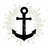 Hand drawn vintage icon with a textured anchor vector illustration Stock Photography