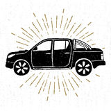 Hand drawn vintage icon with a textured pickup truck vector illustration Royalty Free Stock Images