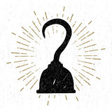 Hand drawn vintage icon with a textured pirate hook vector illustration Stock Photo
