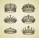 Hand-drawn vintage imperial crown in retro style. King, Emperor, dynasty, throne, luxury symbol. Vector illustration Stock Photo