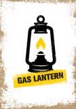 Hand-drawn vintage kerosene lamp. Sketch oil lantern. Vector illustration. T-shirt print. Poster Royalty Free Stock Photo