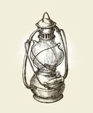 Hand-drawn vintage kerosene lamp. Sketch oil . Vector illustration Royalty Free Stock Photography