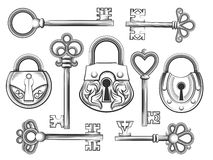 Hand drawn vintage key and lock vector set Royalty Free Stock Images