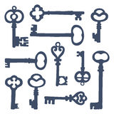 Hand drawn vintage keys collection Stock Photos