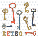 Hand drawn vintage keys collection. Vector illustration Royalty Free Stock Photos