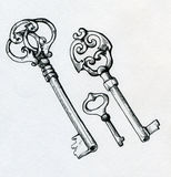 Hand drawn vintage keys Royalty Free Stock Images