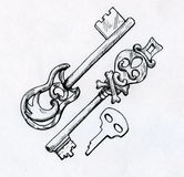 Hand drawn vintage keys. Hand drawn ink sketch of vintage keys made of metal and decorated with curves, leaves and other stuff. These ones are of unusual design Stock Photos