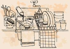 Hand-drawn vintage kitchen Stock Image
