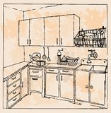Hand-drawn vintage kitchen Stock Photos