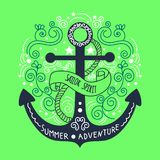 Hand drawn vintage label with an anchor and lettering stock photography