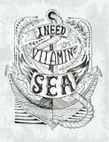 Hand drawn vintage label with an anchor and lettering. Handrawne Royalty Free Stock Photo