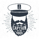 Hand drawn vintage label, retro badge with textured captain vector illustration Royalty Free Stock Photography