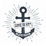 Hand Drawn Vintage Label, Retro Badge With Textured Anchor Vector Illustration.