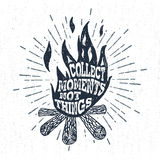 Hand drawn vintage label with textured campfire vector illustration. Royalty Free Stock Photography