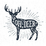 Hand drawn vintage label with textured deer vector illustration. Stock Photos