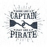 Hand drawn vintage label with textured pirate hooks vector illustration. Royalty Free Stock Photo