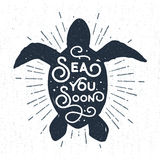 Hand drawn vintage label with textured sea turtle vector illustration. Stock Photography