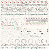 Hand Drawn Vintage Leaves, Arrows, Feathers, Wreaths, Dividers, Royalty Free Stock Photos