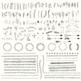 Hand drawn vintage leaves, arrows, feathers, wreaths, dividers, ornaments and floral decorative elements. Vector illustration royalty free illustration