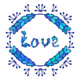 Hand drawn vintage lettering and decoration. Vector word love in blue colours. Hand drawn vintage lettering and decoration. Vector word love in blue colors royalty free illustration