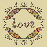 Hand drawn vintage lettering and decoration. Vector word love. Royalty Free Stock Photo