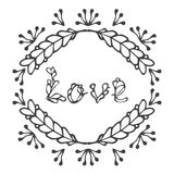 Hand drawn vintage lettering and decoration. Word love. Stock Photography