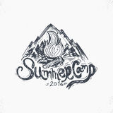 Hand-Drawn vintage lettering label  mountains, forest and su Royalty Free Stock Image