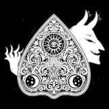 Hand drawn vintage magic Ouija devil board oracle. Royalty Free Stock Photo